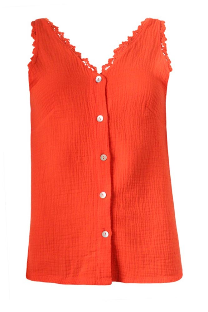 Carrie Button Vest Top in Orange