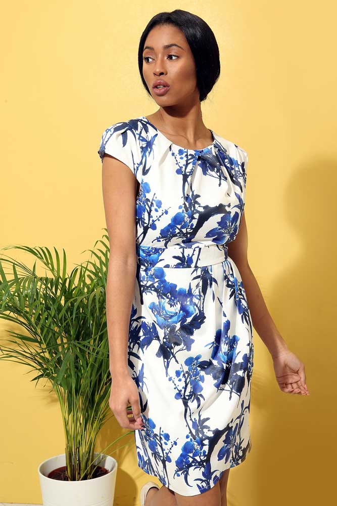 China Blue Tulip Pocket Dress