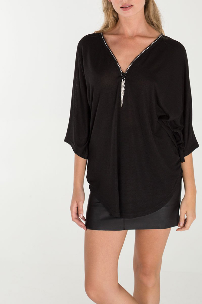 Diamante Zip Front Top