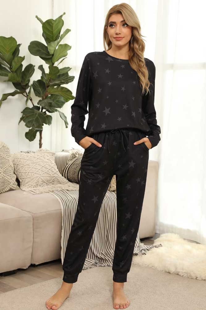 Queenie Grey Star Loungewear Co Ord Set