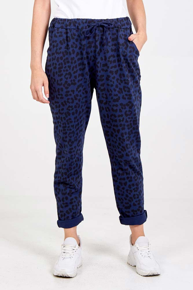 Magic Leopard Stretch Trouser in Navy