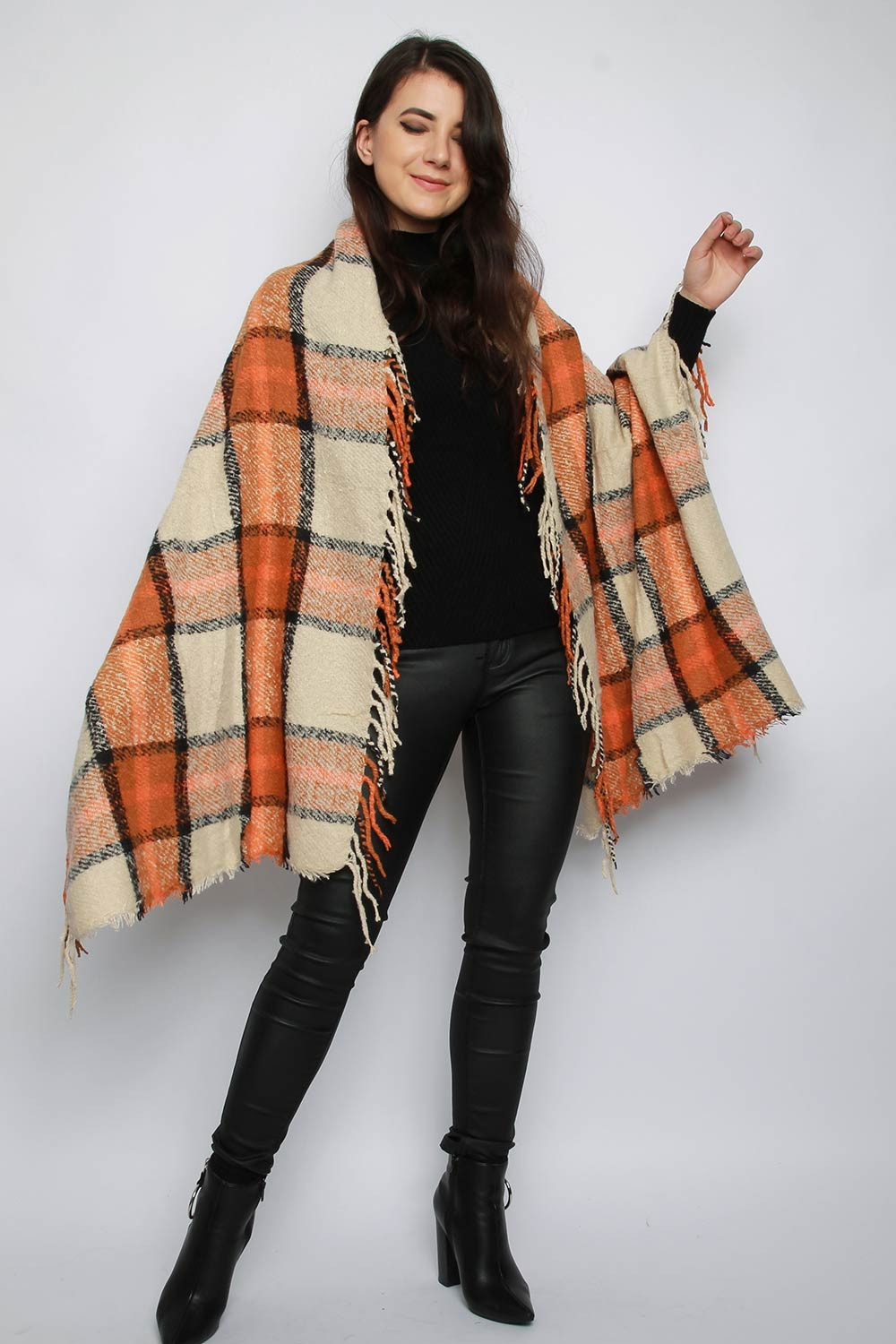 Baba Orange Check Blanket Scarf