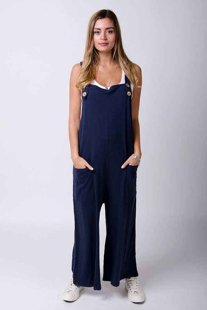 Button Trim Jersey Dungarees in Navy