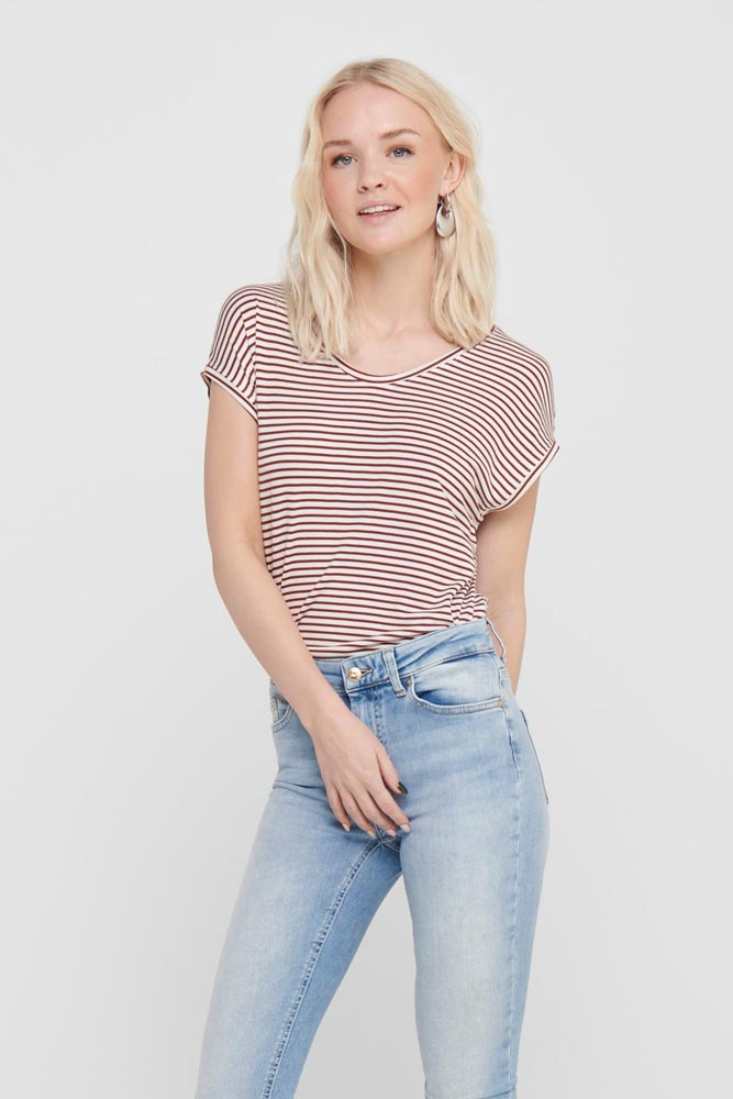 Only Wilma Wine Stripe Tshirt