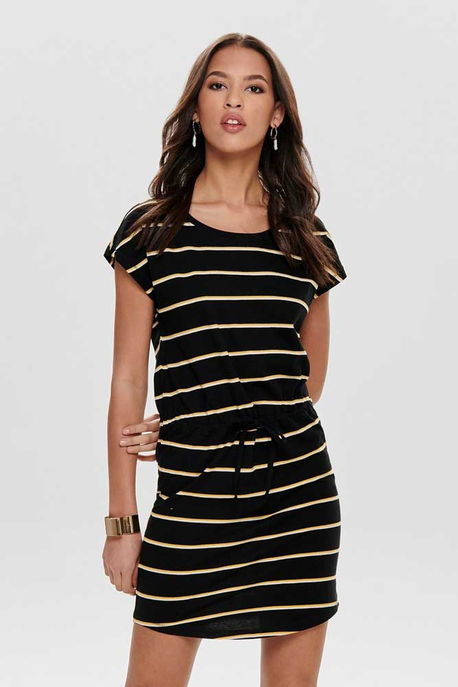 Only Stripe Tshirt Dress in Black