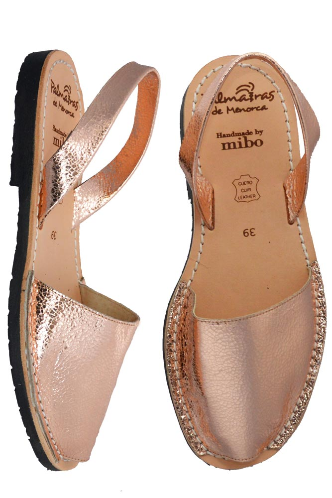 Palmaira Rose Gold Leather Sandals