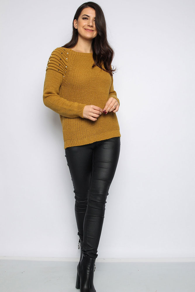 Pearl Shoulder Jumper in Mustard