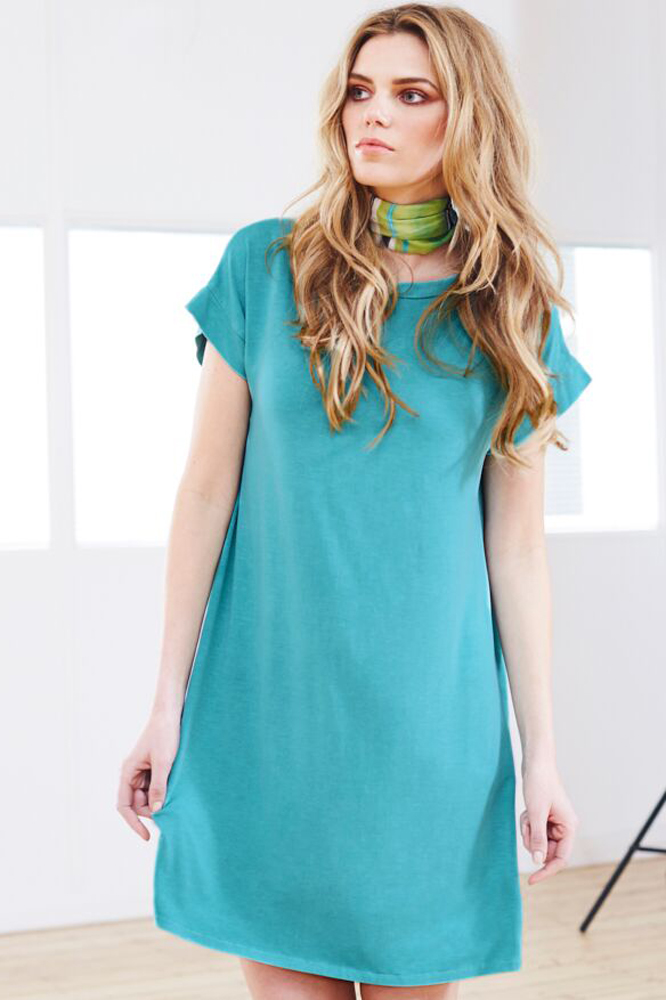 A Postcard From Brighton Trivia Tshirt Dress in Seagreen