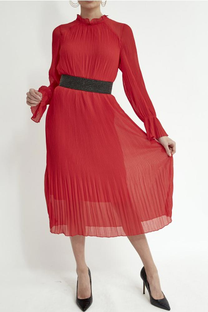 High Neck Pleated Dress in Red