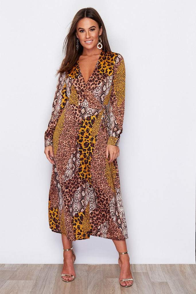 Adriana Animal Wrap Midi Dress