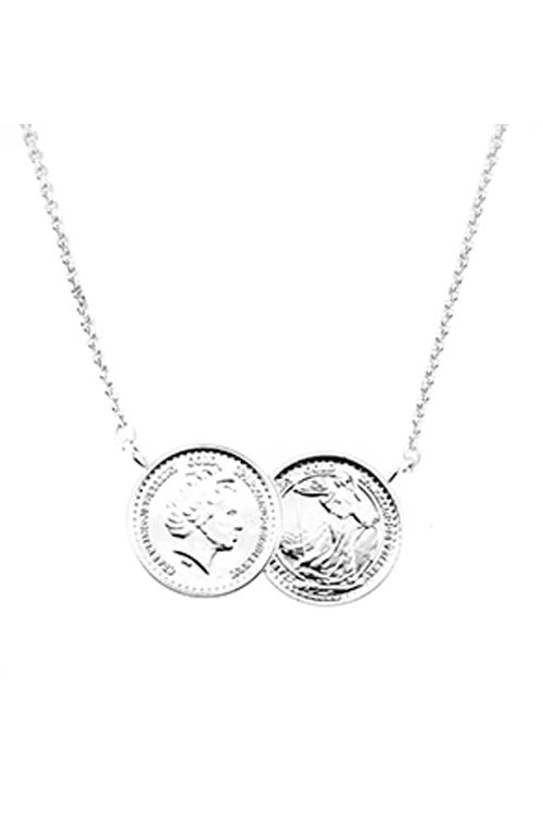 two coin necklace in silver