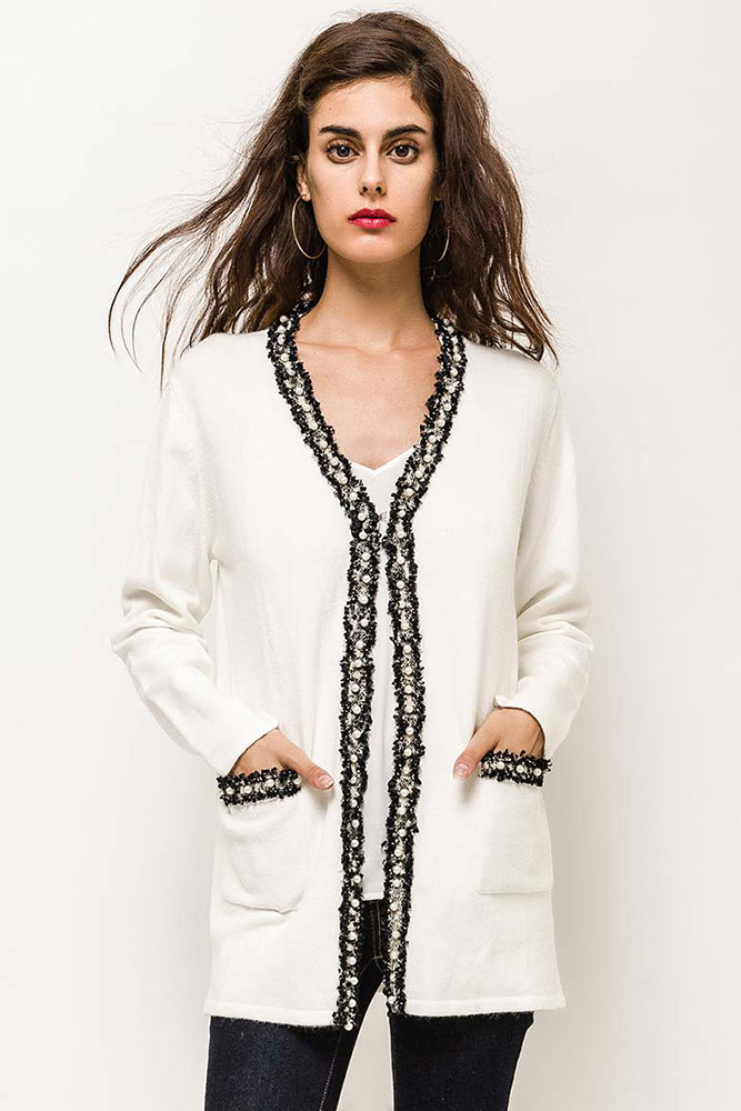 Pearl Detail Cardigan in Winter White