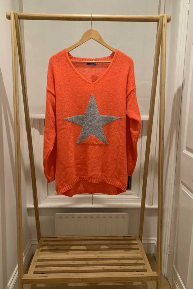 Grey Star Jumper In Orange