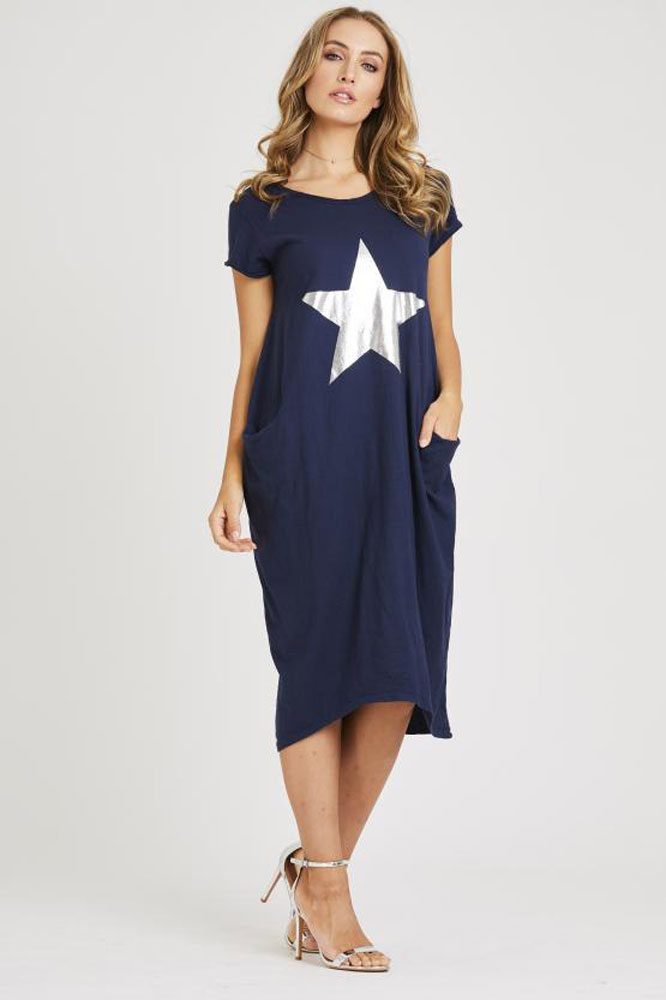 Pocket Star Tshirt Dress in Navy