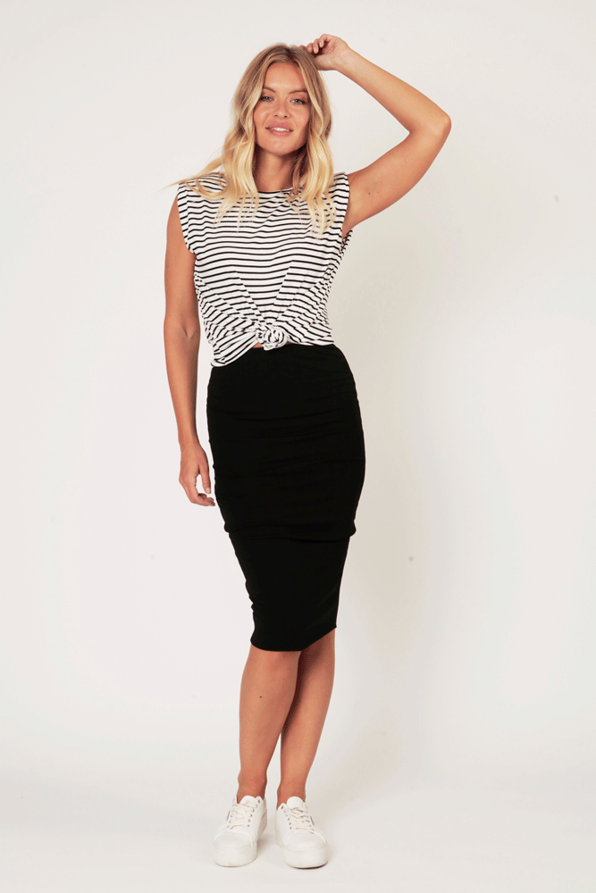Suki Black Midi Pencil Skirt