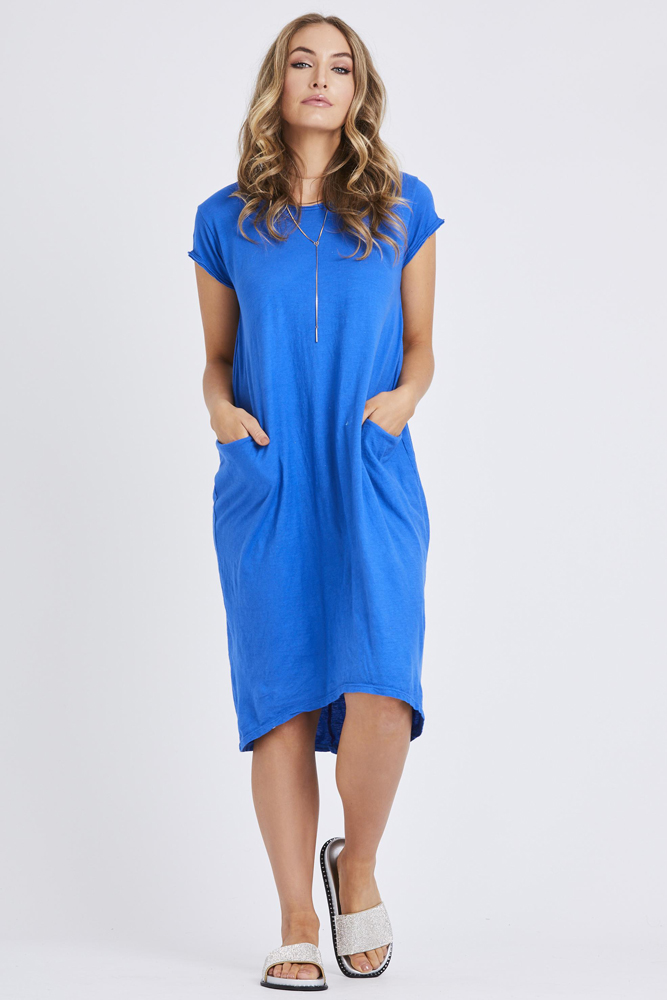 Pocket Tshirt Dress in Royal Blue