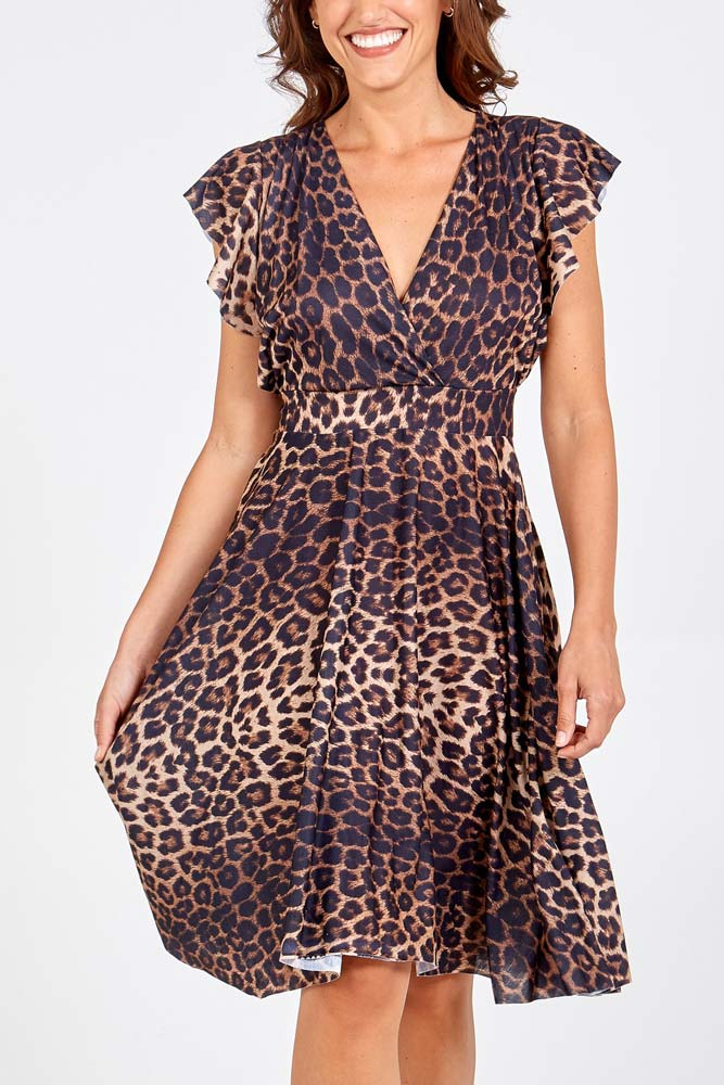 Animal Print Frill Wrap Dress