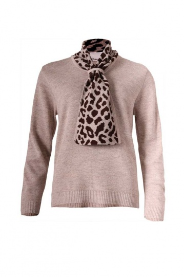 Leopard Collar Knit Top