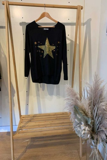 Leopard Star Top in Black