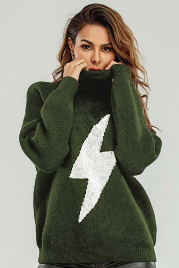 Queenie Lightning Bolt Jumper in Khaki