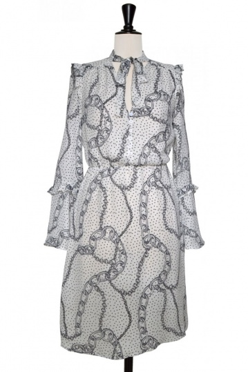 Lily Chain Print Wrap Over Dress