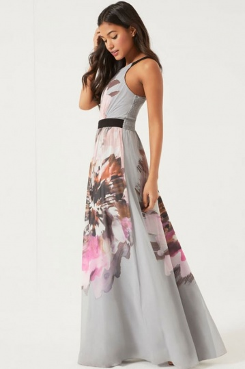 Little Mistress Floral Placement Maxi Dress