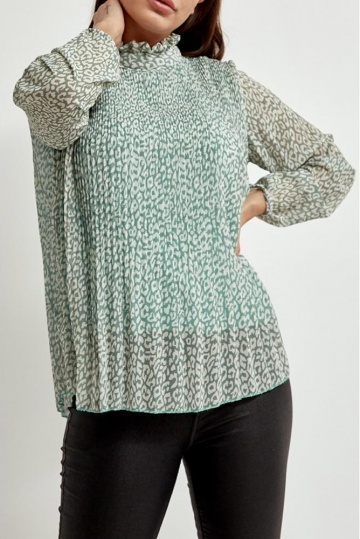 Mint Leopard Print Pleated Blouse