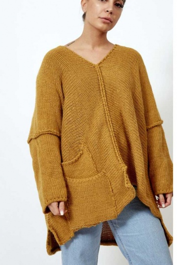 Asymmetric Oversized Jumper in Ochre