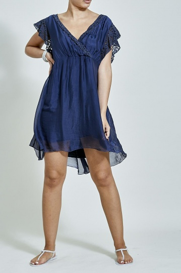 Navy Cross Over Silky Dress