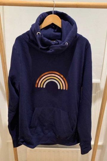 Neon Marl Metallic Rainbow Cowl Hoodie in Navy