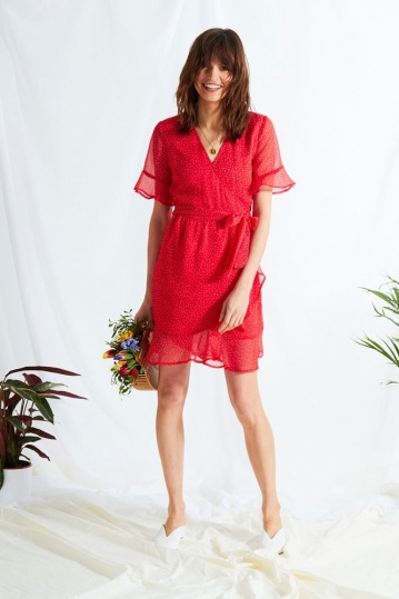 Ditsy Wrap Dress