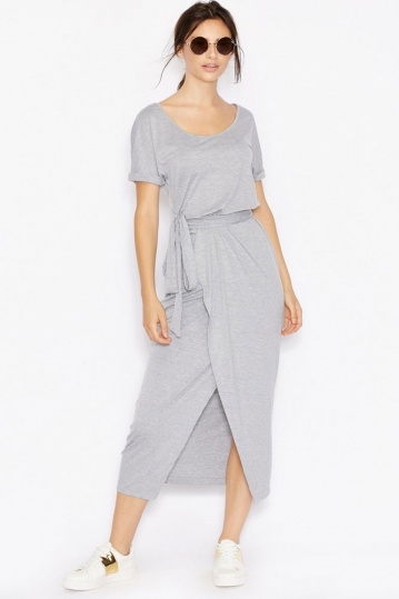 Never Fully Dressed Grey Marl Wrap Dress