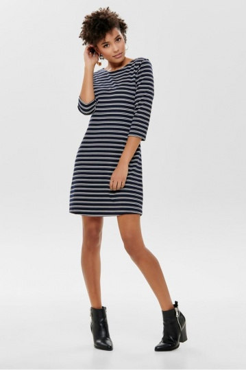 Only Brilliant Navy Breton Stripe Dress