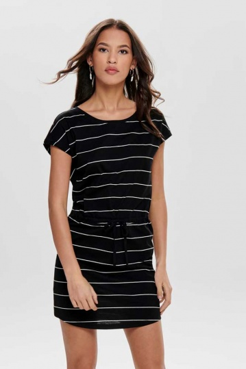 Only May Stripe Tshirt Dress in Black