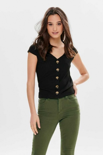 Only Nella Button Top in Black