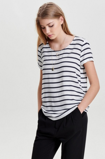 Only Cloud Dancer Stripe Top