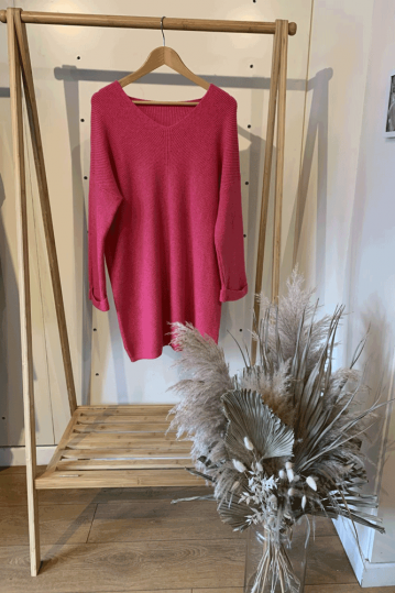 Sarah Ribbed  Jumper Dress in Pink