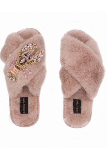 Laines London Pink Lobster Brooch Slippers