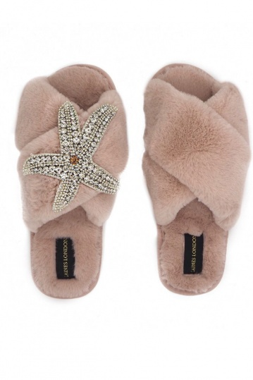 Laines London Pink Starfish Brooch Slippers