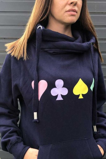Neon Marl Playing Cards Cowl Hoodie in Navy