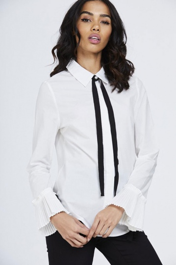 Black Bow Frill Shirt in White