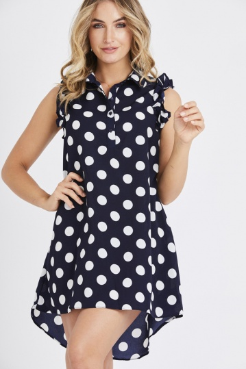 Polka Dot Frill Shirt Dress