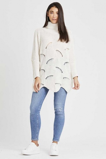 Scallop Hem Roll Neck Slouchy Jumper in Oatmeal