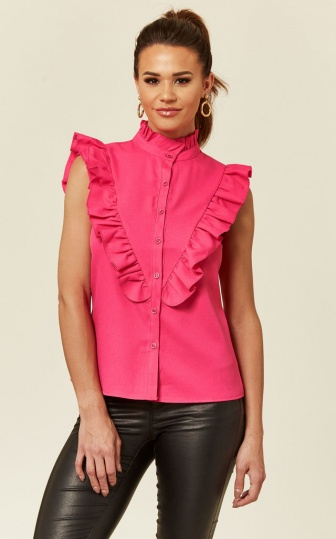 Ruffle Sleeveless Blouse in Pink