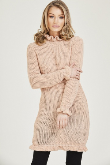 Ruffle Hem and Cuff Jumper Dress in Pink