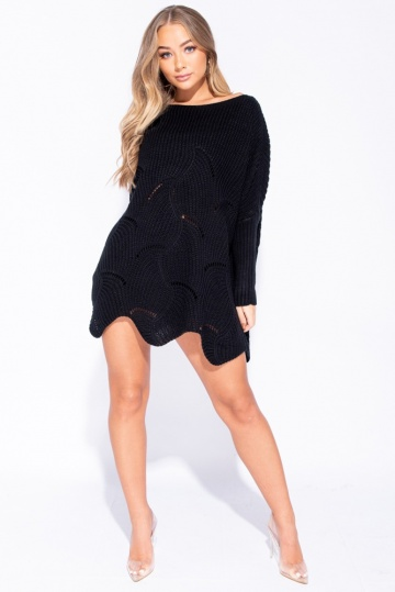 Scallop Hem Slouchy Jumper in Black