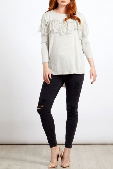 Scallop Lace Trim Tee in Grey