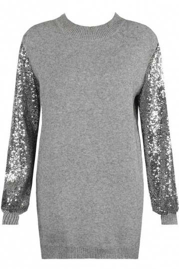 Candy Sequin Sleeve Jumper Dress in Grey