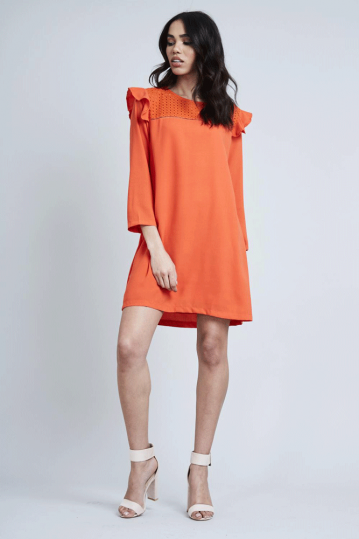 Frill Shoulder Shift Dress in Orange