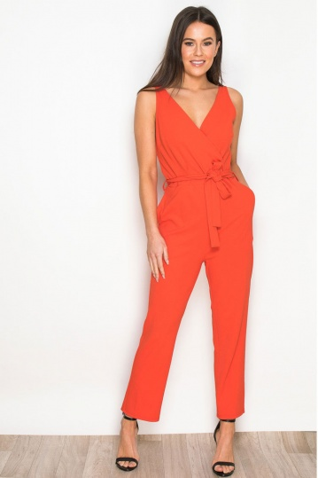 Bella Wrap Over Jumpsuit in Coral